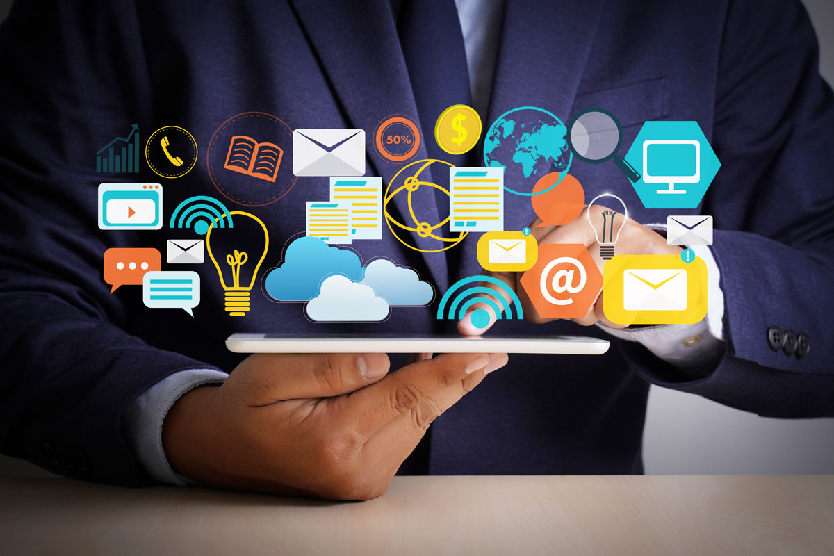 icons of various digital services to represent how to master digital marketing