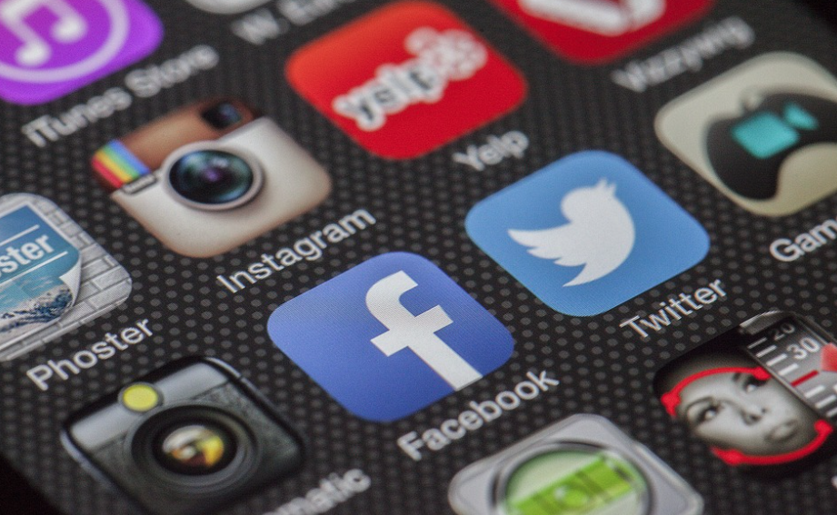 smartphone screen showing social media icons