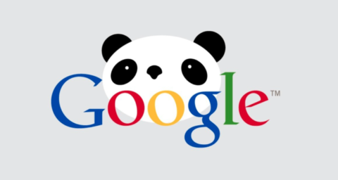 Picture of Google logo with Panda behind to illustrate Google Panda update