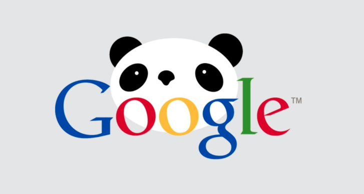 Picture of Google logo with Panda behind to illustrate Google Panda update