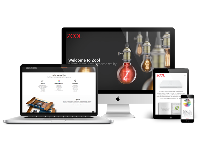 screen, laptop, ipad and mobile showing the new Zool website