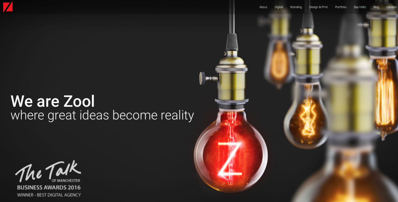 zool digital homepage featuring a lightbulb. We are Zool where great ideas become reality