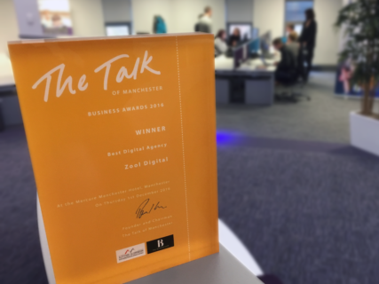 Zool's Best Digital Agency Award from the Talk of Manchester Business Awards
