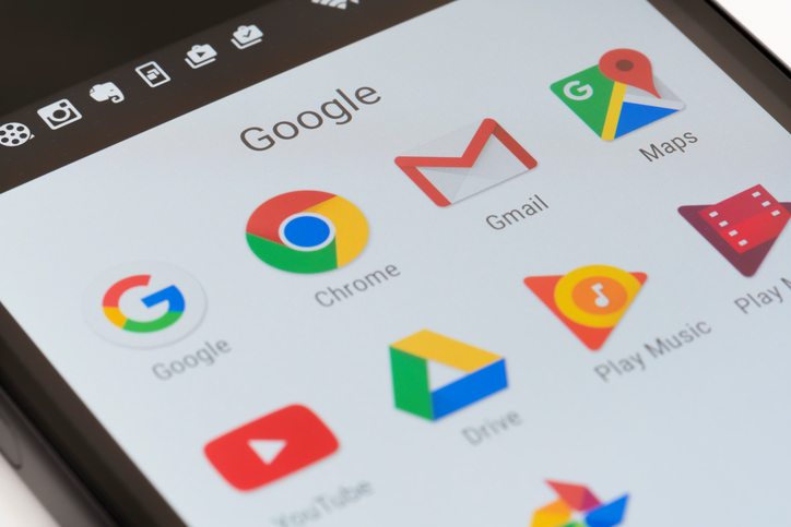 mobile phone screen showing icons for google, chrome, gmail, maps, youtube, drive, play music and play