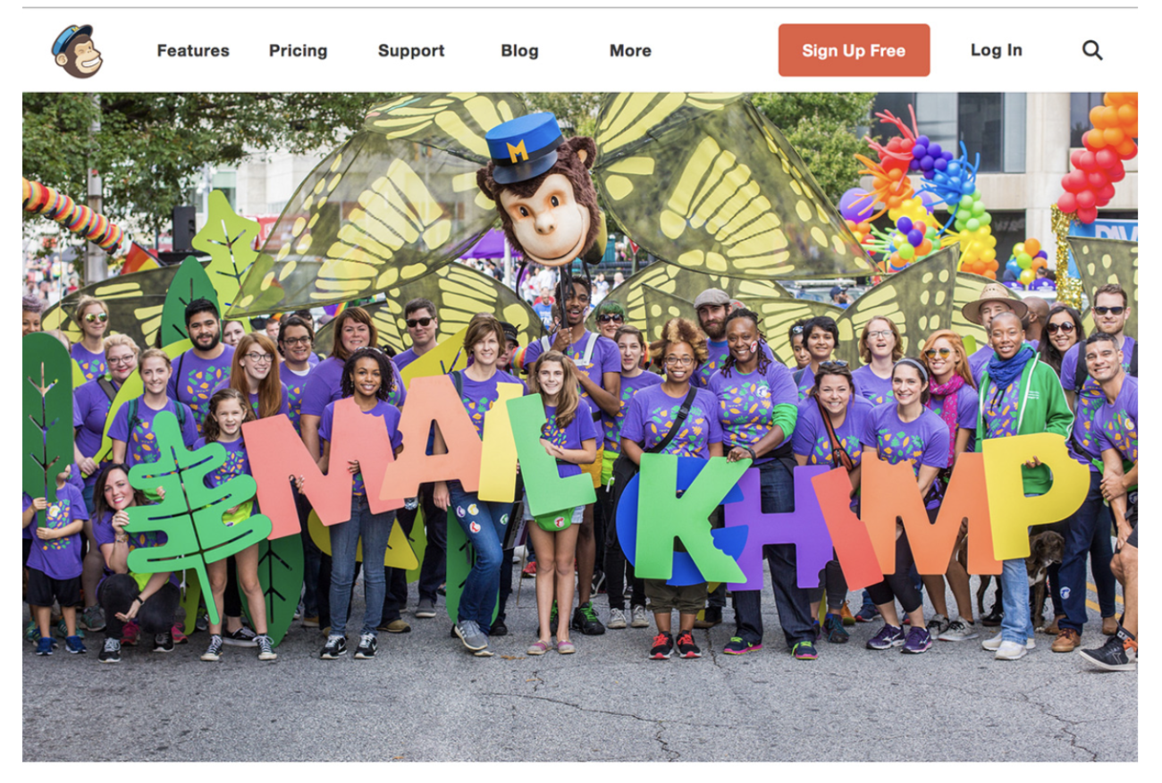 photo of Mailchimp showing an amazing about us page