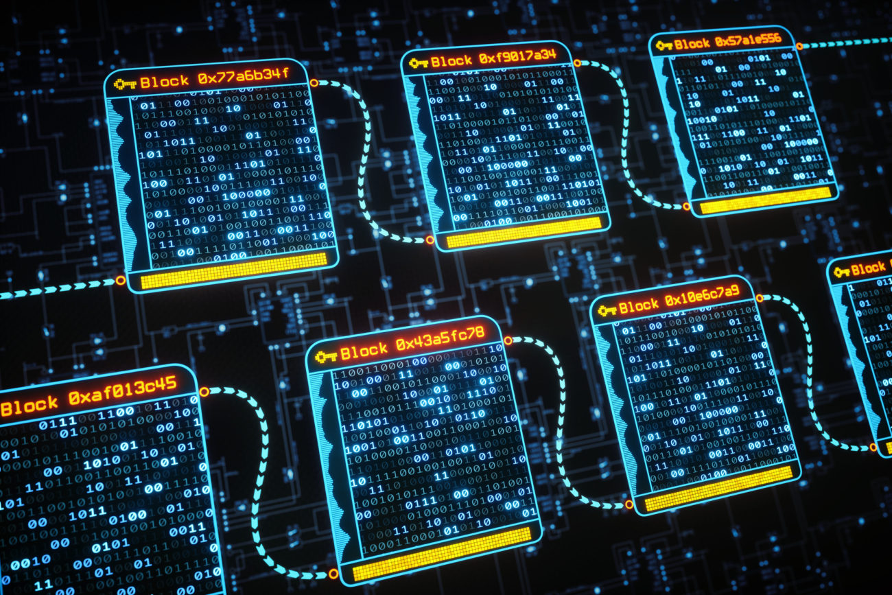 An abstract digital interface showing the concept of blockchain technology with binary hash data inside each block. The background contains schematics resembling a flowchart.