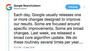 google broad core algorithm update tweet 1
