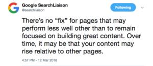 Google broad core algorithm update tweet 3