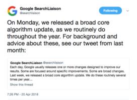 google broad core algorithm update April
