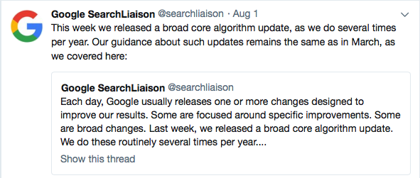 announcement from google search liaison about latest google algorithm update