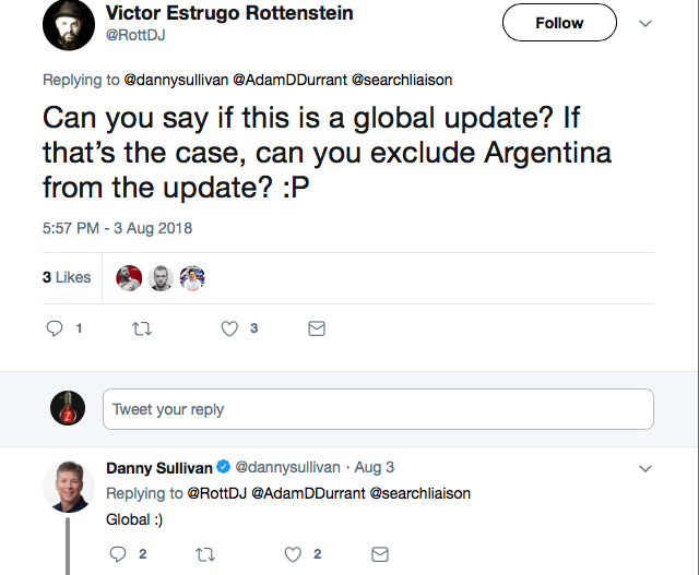 google search liaison confirms it was a global update