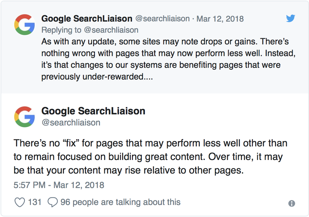 googles description of how algorithm update may affect sites
