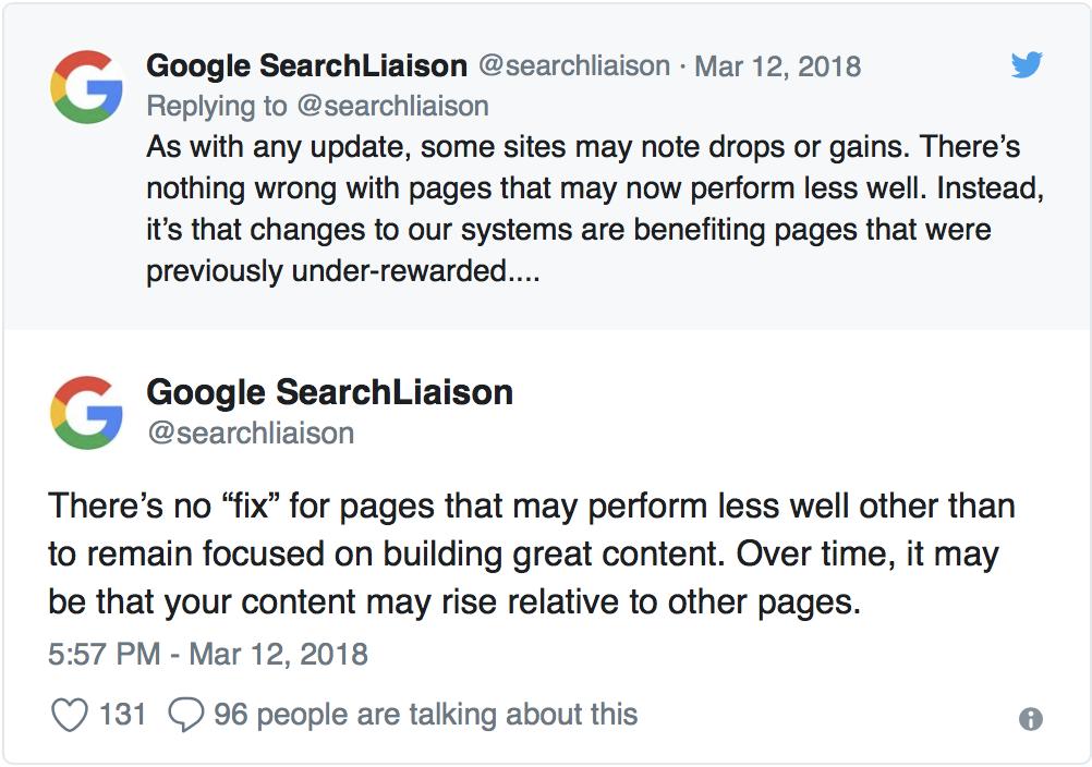 googles description of how algorithm update may affect sites
