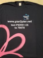 T-shirt with detail os how to donate to pier2pier in aid of Alzheimer's Society