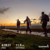 three men walking a distance of 11.9 miles in 4 hours and 28 minutes garmin