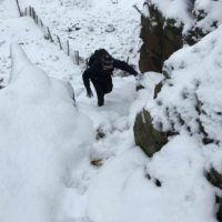 Stuart climbing to the top of Chinley Churn