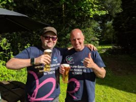 Stuart and Ian drinking a well earned pint