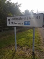 Sign showing Chelmsford (A414) and Motorway M11