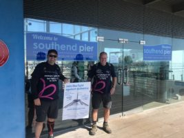 Ian and Stuart at Southend Pier - the end of their journey