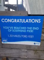 The sign showing the end of Southend Pier