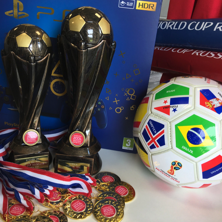 trophies and medals for Zool's PS4 competition in aid of East Cheshire Hospice