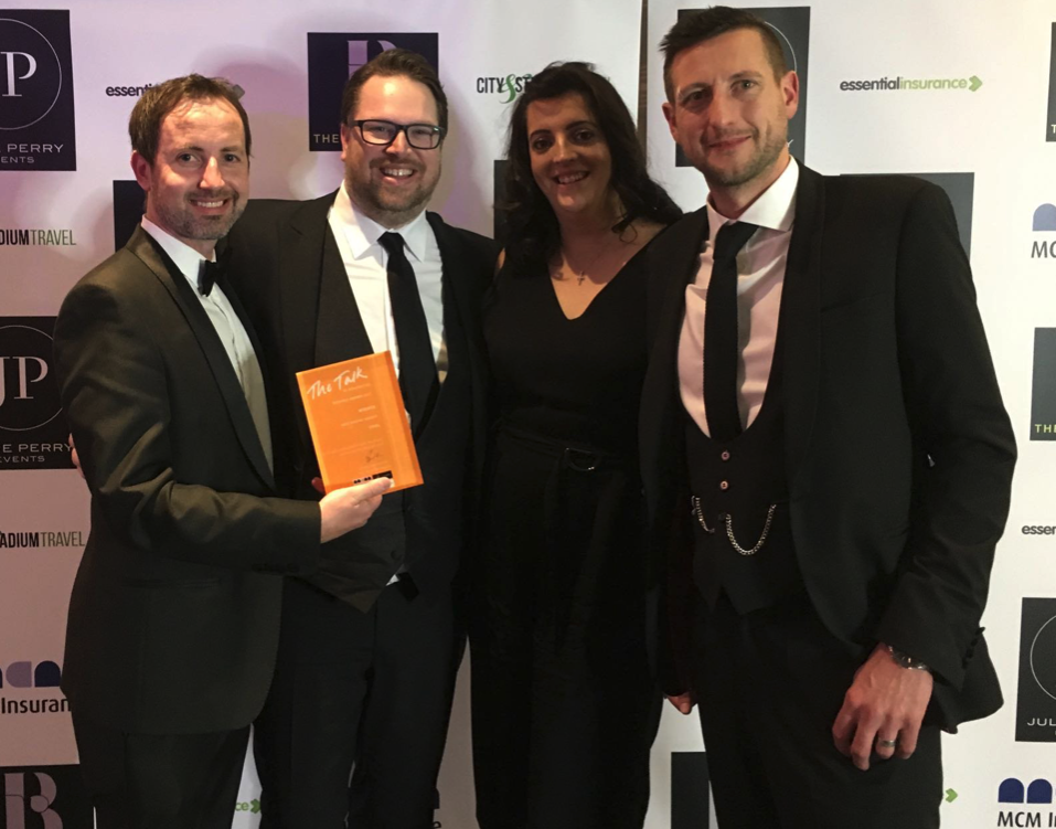 Stu, Dan, Lou, and Ste from Zool with their Best Digital Agency in Manchester award from the Talk fo Manchester Awards