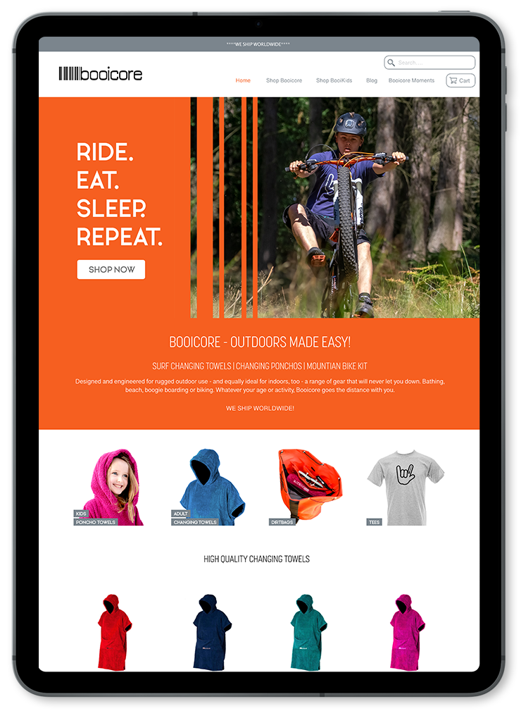booicore ecommerce website on ipad
