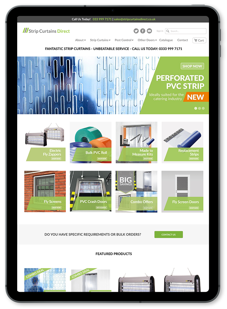 strip curtains direct ecommerce website on ipad