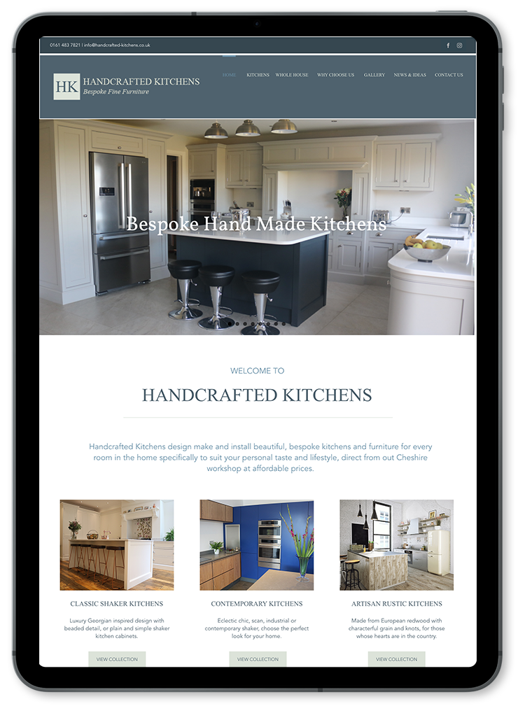 Handcrafted Kitchens website displayed on ipad