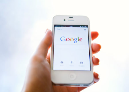 google search engine shown on mobile phone