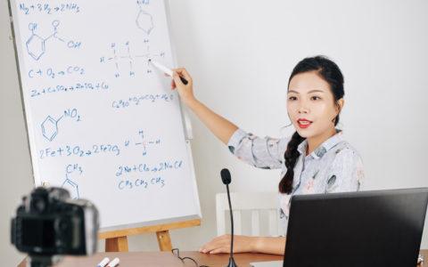 lady conducting a science webinar