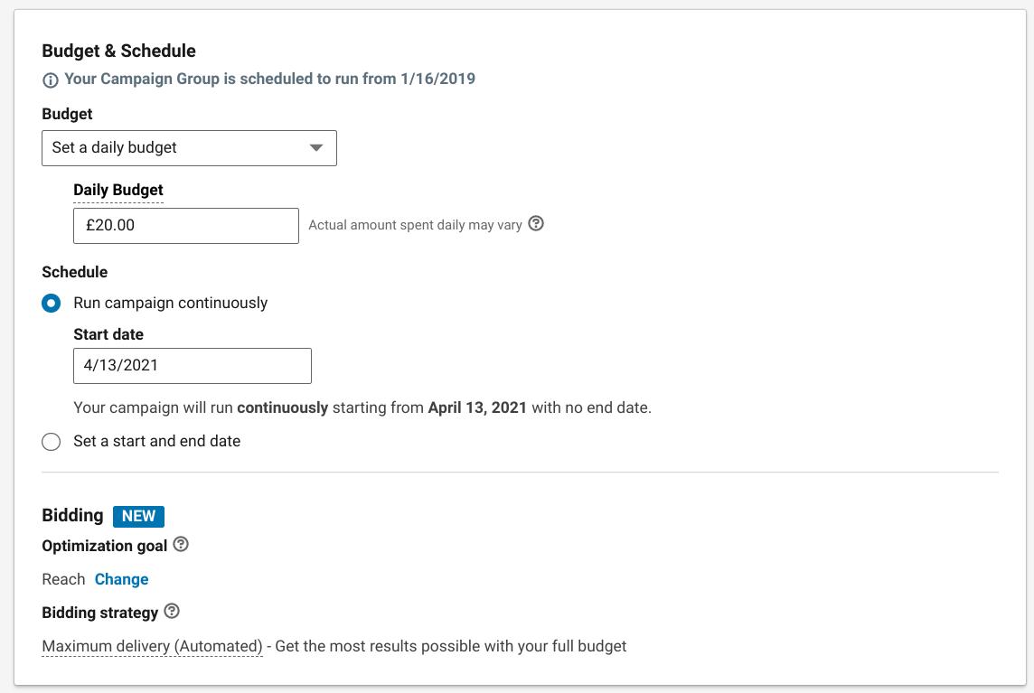 LinkedIn Ad Budget Screenshot