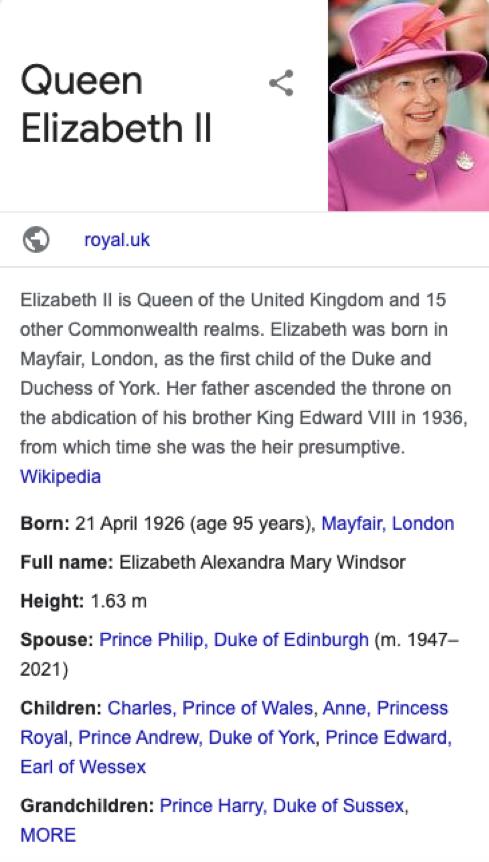 knowledge panel about Queen Elizabeth II